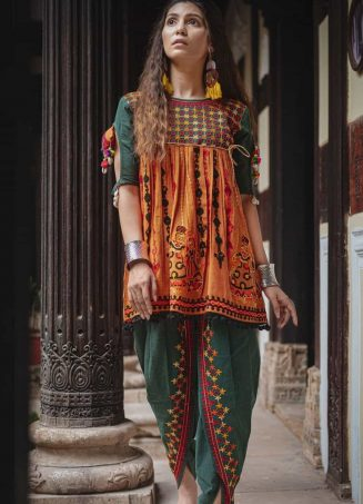 Deep green and orange rajathani dhingli couple embroidered kedia and tulip pants set-1200x1500