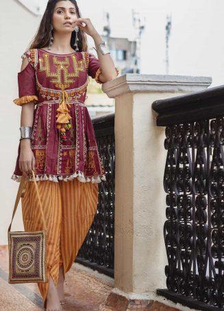 Deep wine folk motif maharani yoke kedia with stripie tulip pants set-1200x1500