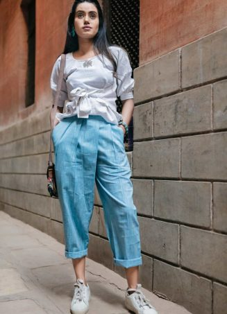 Fantasy Cool Casual Blue Denim Slub Khadi Pants And Waist Tieup Top 39 (1)