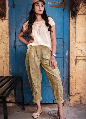 Fantasy Dull Green Slub Casual Pleated Khadi Pants and Top Combo 37 (1)