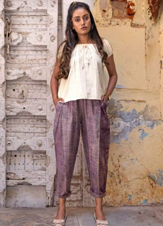 Fantasy Dull Lilac Slub Casual Pleated Khadi Pants and Top Combo 38 (1)