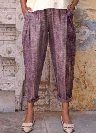 Fantasy Dull Lilac Slub Casual Pleated Khadi Pants and Top Combo 38 (2)