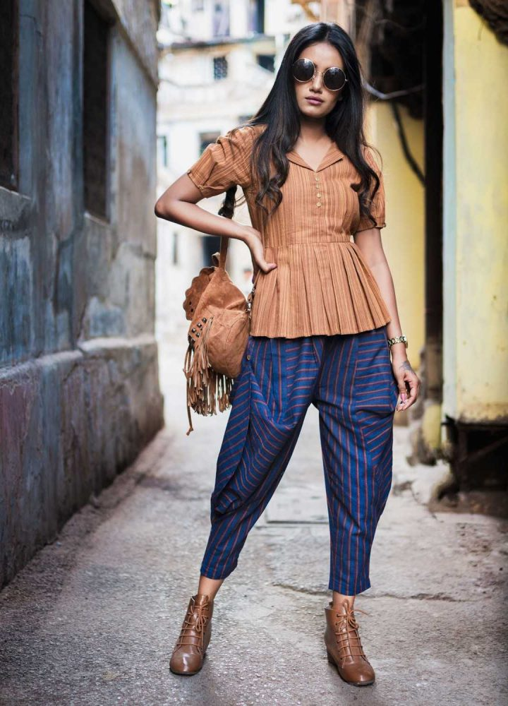 Fantasy-Khadi-Blue-Hanging-Cowl-Baggy-Ankle-Length-Pants-And-Rust-Top-32-1