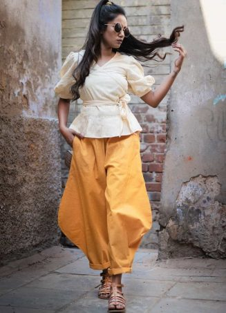 Fantasy Mustard Baggy Ankle Khadi Pants and Shrug Top Combo 42 (1)