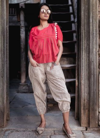 Fantasy Red Khadi Batwing Top And Jawahar Stripie Pants Combo 41 (1)