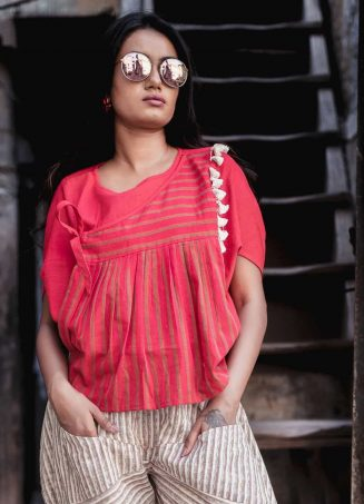 Fantasy Red Khadi Batwing Top And Jawahar Stripie Pants Combo 41 (4)