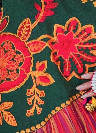 Ladies Deep Green Angarkha Style Kedia And White Tulip Pant With Daman (3)
