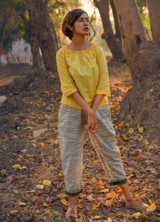 Lemon Yellow Elastic Top with Canvas Slub Casual Pant with Green Folding_khadiset28 (1)