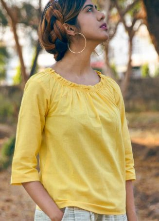 Lemon Yellow Elastic Top with Canvas Slub Casual Pant with Green Folding_khadiset28 (4)
