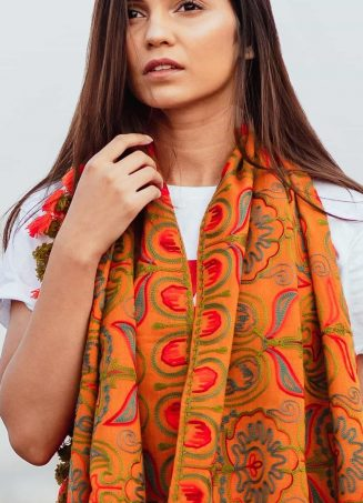 Mono Orange Woollen Embroidered khadi MufflerStole_scarf53 (3)