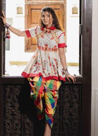 Multi checkered pants and Offwhite traditional keida and pants set-1200x1500