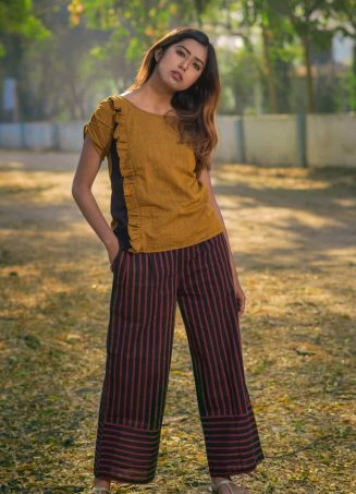Mustard Frill Top With Button On Back Paired With Lining Panel Pant (1)