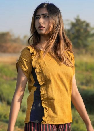 Mustard Frill Top With Button On Back Paired With Lining Panel Pant (3)
