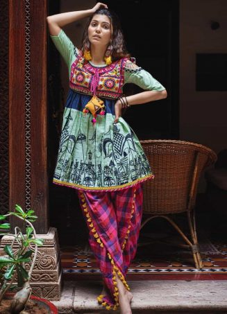Parrot Green Elephant Embroidered yoke and colorful yoke kedia and tulip pants-1200x1500