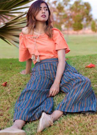 Peach Off Shoulder Top With Lining Linen Pantkhadiset26 (2)