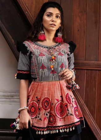 Peach and grey yoke tiny chandilier embroidered khadi kedia and black tulip pants set 2-1200x1500