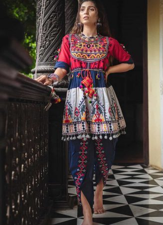 Red yoke and Parrot motif panel embroidered keida and navy blue tulip pants set-1200x1500