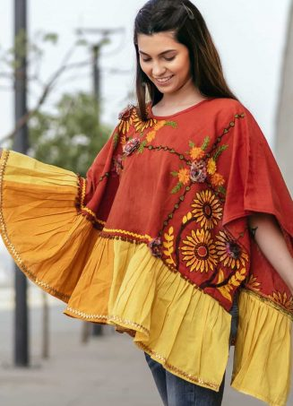Rust Sunflower Embroidery Assymetric poncho_poncho16 (2)