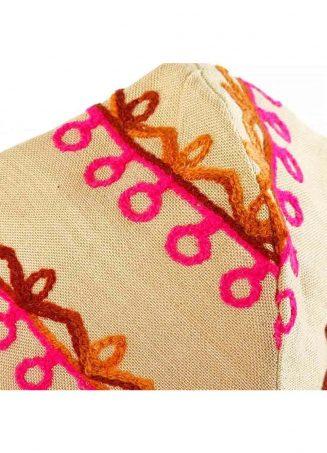 Beige Embroidered Woman Khadi Mask 1-1200x1500